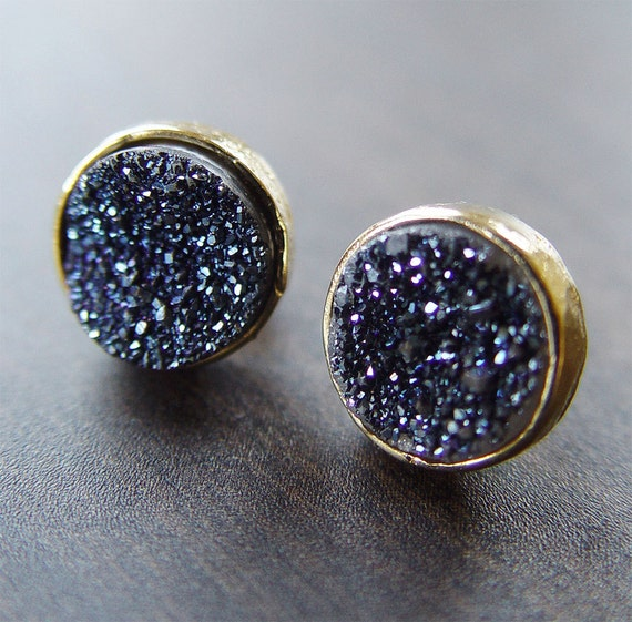 Navy Druzy Gold Stud Earrings