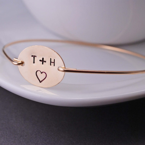 Personalized Bracelet, Engagement Gift, Valentine Gift, Gold Love Bangle Bracelet, Wife Gift
