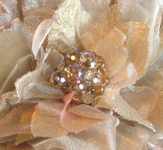 """Sale, Shimmering Gold Flower Brooch  4 1/2"""", Ready to Ship"""