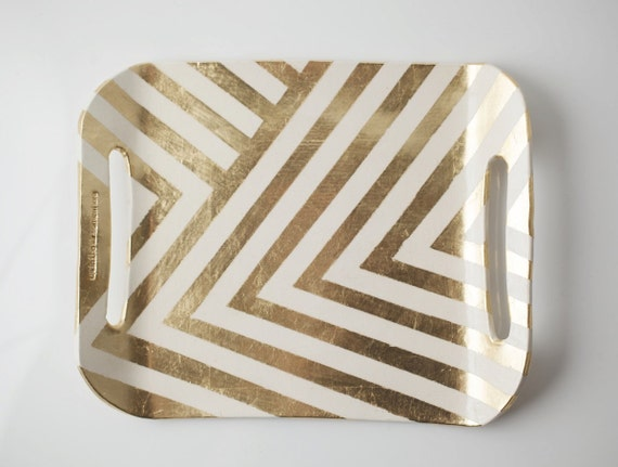 LIMITED EDITION Gold Zag Tray
