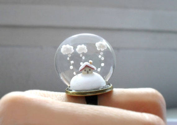 Ring Snow-covered landscape-Little house and white clouds-Terrarium ring for Christmas