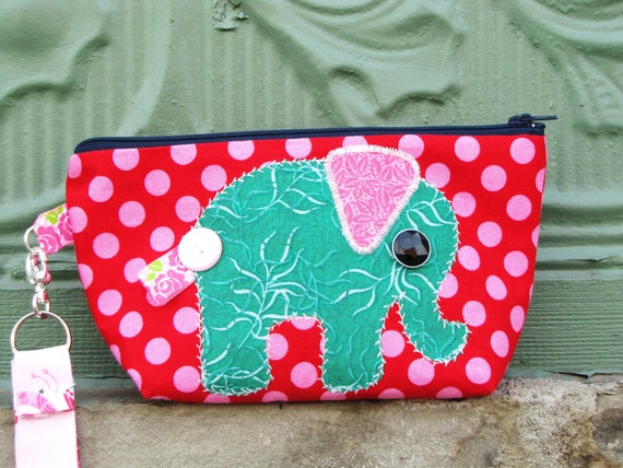 Red and Pink Polka Dot Zippy Wristlet Bag with Green Elephant Applique
