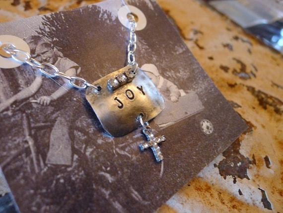 Joy   Handstamped Silver Necklace