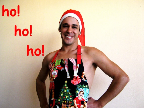 All I Want For Christmas is this APRON. Sexy Pin-Up Men Alexander Henry Fabric