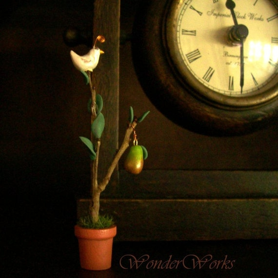Very Tiny Partridge in a Pear Tree - OOAK Handsculpted Dollhouse Scale Decor or Unique Holiday Gift
