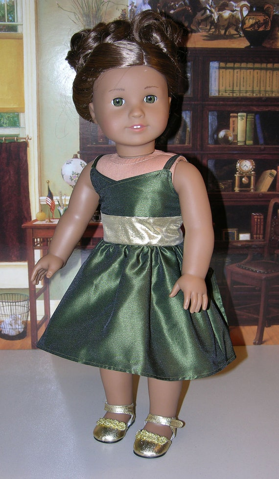 Golden Evergreen Dress for American Girl doll with shoes