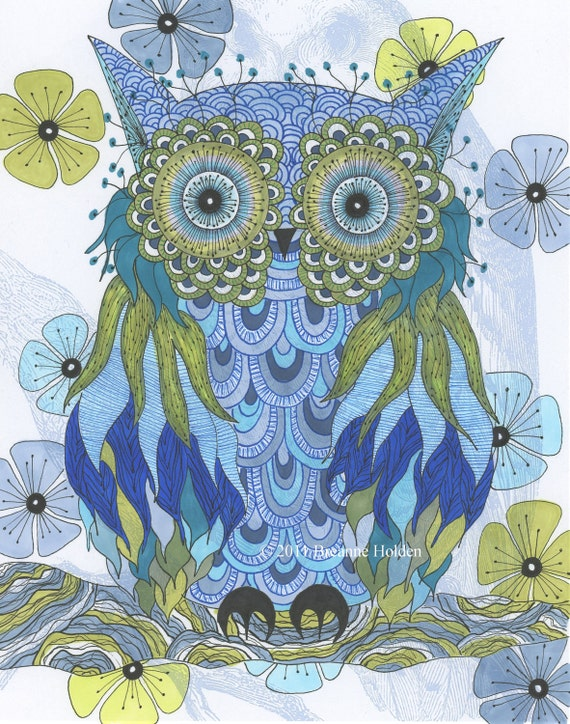 Whimsical Owl Painting Archival Print 8 X 10