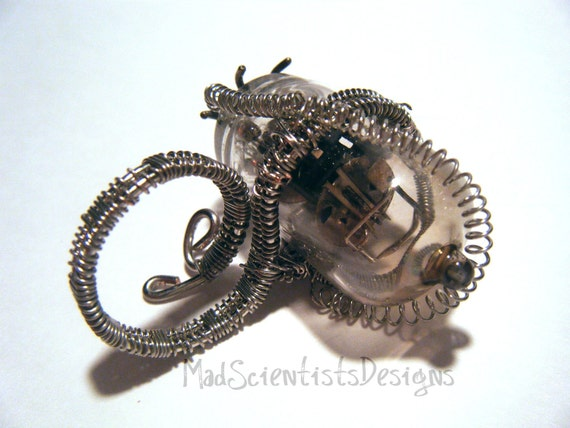 FREE SHIPPING Miles To Go - OOAK Steampunk Coil Ring 007