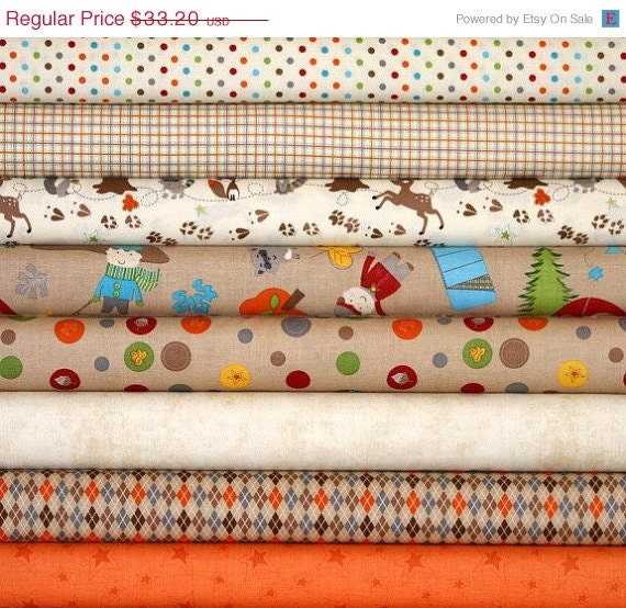 Entire Shop ON SALE Fox Trails Brown and Orange Bundle, Doohikey Designs for Riley Blake, 8 half-yards (4 Total Yards)