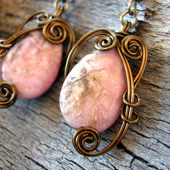 Wire Wrapped Dangle Earrings - Pink Rhodochrosite in Antique Bronze