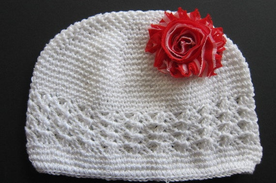 White Kufi Hat with Red and White Striped Shabby Flower Hair Clip for Toddler.  READY TO SHIP.