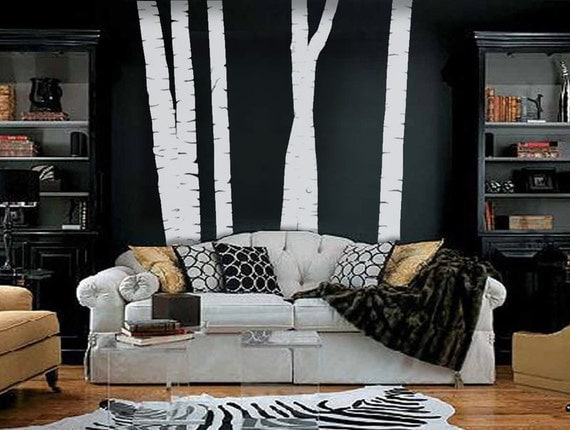 Birch Tree Forest vinyl wall decal, removable matte finish graphics art