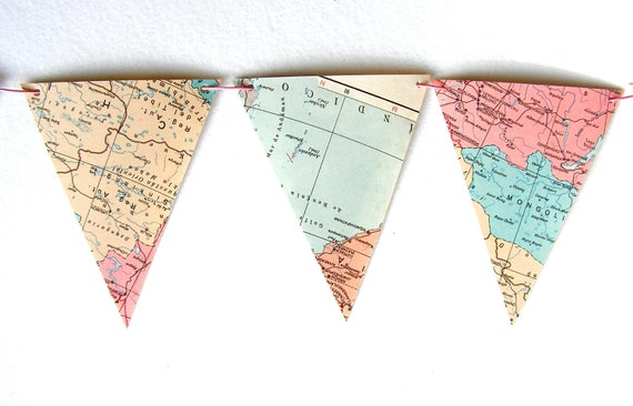 Vintage map bunting in pastels. Le monde en rose. Shabby chic, romantic home decor.