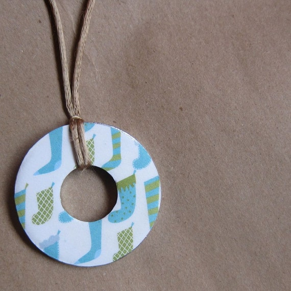 Christmas Stocking Washer Necklace