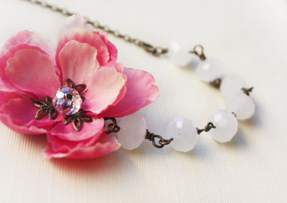 pink cherry blossom necklace, cherry blossom necklace, asymmetrical necklace, white bead necklace