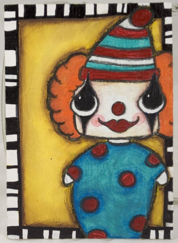 Circus Clown - Original ACEO ooak - FREE SHIPPING