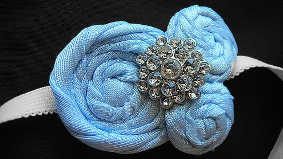 M's Blue Fairy Triple Rosette on a Headband