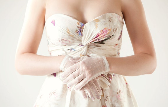 Polka Dot Bridal Gloves
