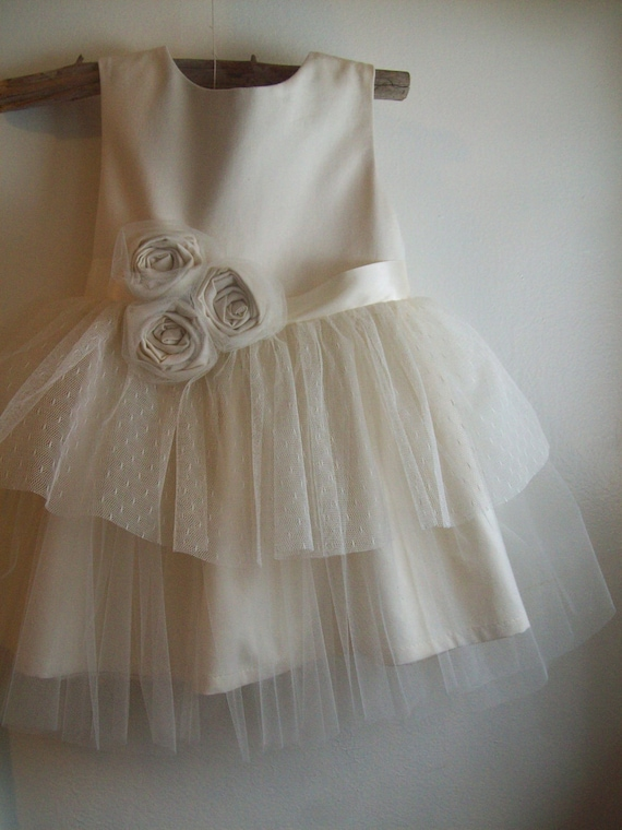 Vintage style Flower Girl Dress ... natural Organic cotton ...2T-5