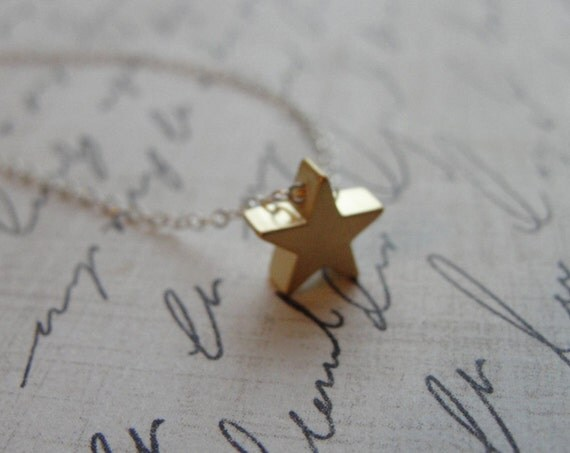 Gold star necklace on silver chain - simple dainty everyday silver & gold jewelry