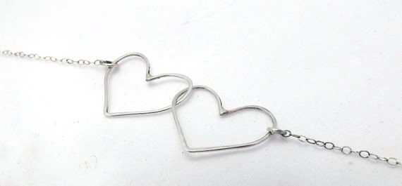 Valentines Day Gift Heart Necklace Sterling Silver Hearts