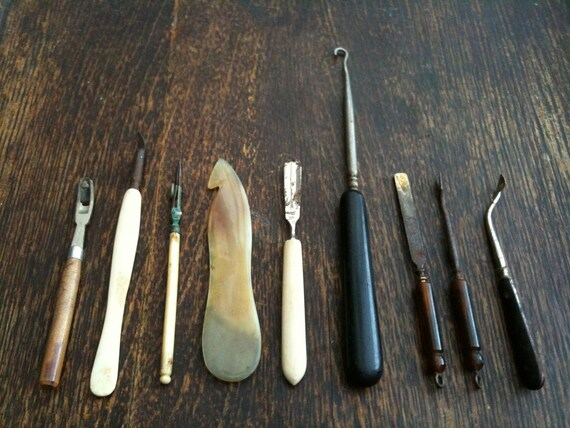 Vintage English Crochet Knitting Sewing Tools, some Bone Handles