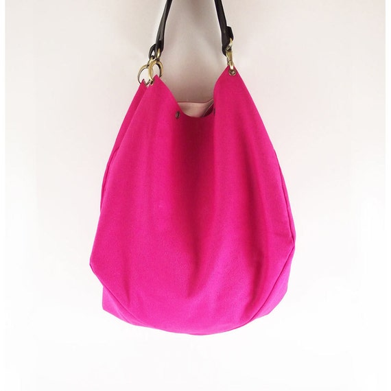 Hot pink canvas bag / shoulder bag / tote / handbag / Joy