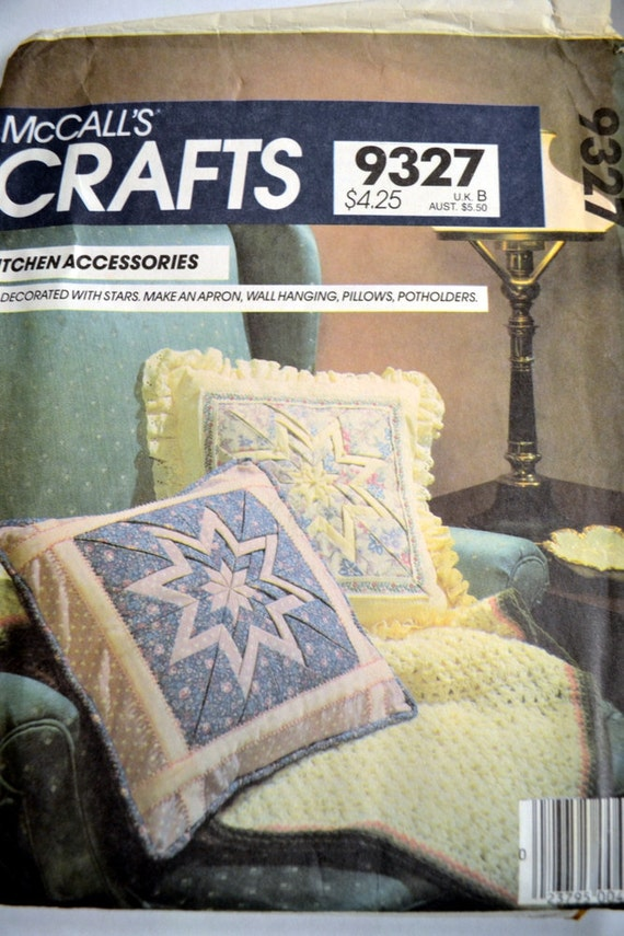 Sewing Pattern McCall's 9327 Kitchen Accessories Quilt Star Pattern Uncut Complete
