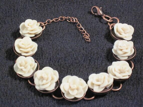 Polymer Clay Bracelet - Floral Bracelet - Flower Bracelet - Ivory Bracelet - Bridal Bracelet - Handmade Bracelet