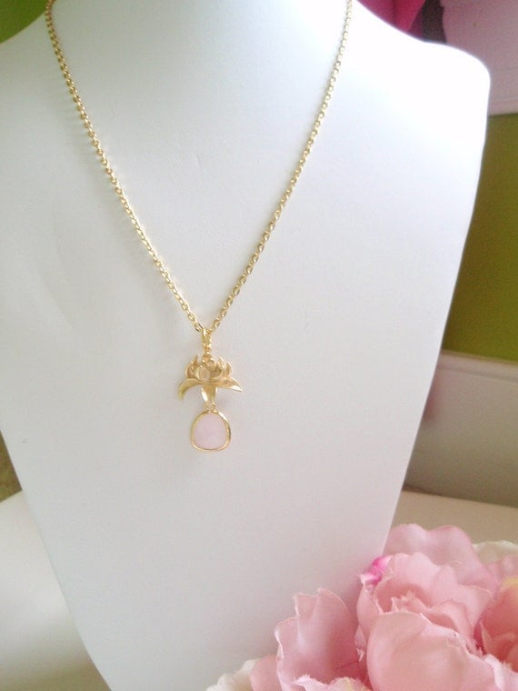 LAYLA - Gold Dahlia Flower Soft Pink Necklace