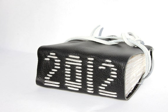 2012 - Wee Chunky Book - Black Leather - Unique Handmade Hand Stitched by Wee Bindery - OOAK