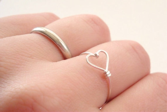 Delicate sterling silver Valentine heart ring - simple jewelry made to order in your size