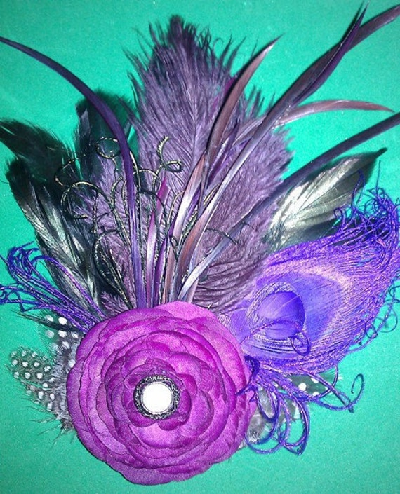 Purple purple fascinator Wedding peacock fascinator Wedding fascinator