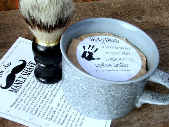 Shaving Mug Set, Vintage Shaving Mug,  Cyber Monday Etsy Grooming Kit, Boar Brush, Handmade Soap