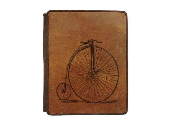 Ipad 2 Leather Book Cover Case - Vintage Bike