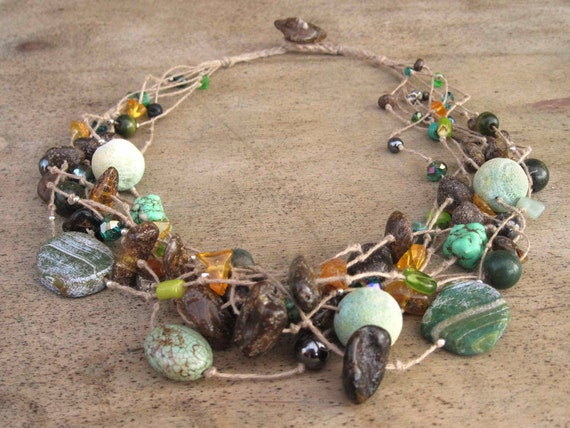 Linen Necklace, Amber Necklace, Natural Stones, Raw Amber, Coral, Turquoise, Howlite, Agate, Glass , Green, Forest Tale