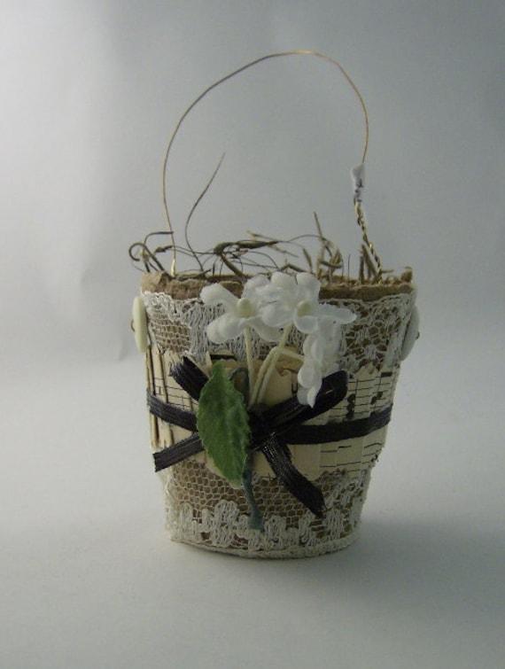 КАЗНАЧЕЙСТВО ПУНКТ Крошечные Великолепная контейнеры Пот Торф пользу отделан Плиссированные античной ноты и Vintage цветов