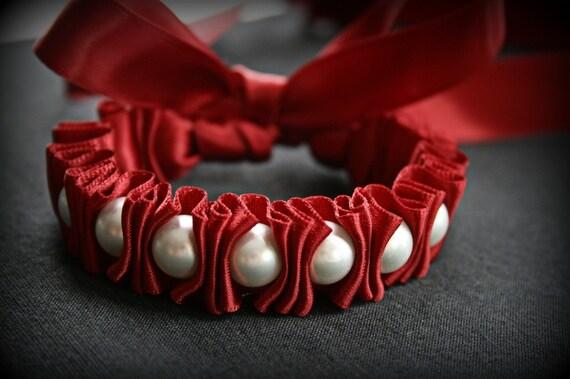 Ribbon Bracelet -Claudella Ruffles and Pearls Ribbon Bracelet in Crimson Red