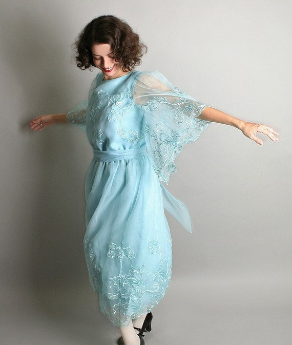 Vintage Jack Bryan Dress - Cocktail Ice Queen Blue Fashion Size Large Winter Holiday Fashion