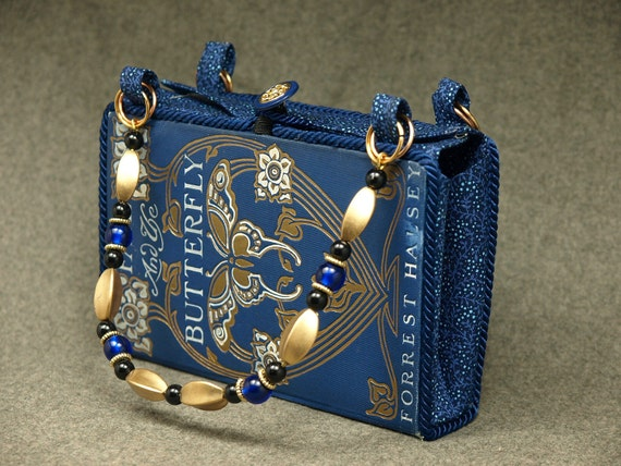 Repurposed vintage hardcover books fashioned into useful purses