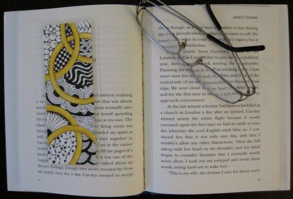 Handmade Original Artwork, One of a Kind Bookmark, Black & White Zentangle, Gold Rings, Marriage, Engagement