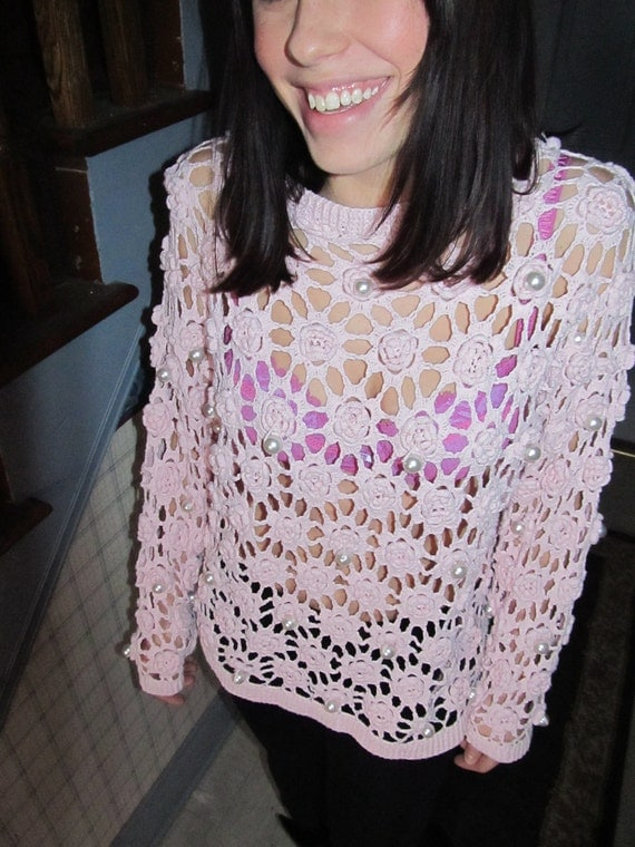 Pretty Pink and Pearl See Through Sweater