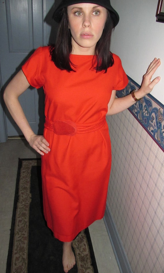 Short Sleeve Red Dress with Belt- Size 8