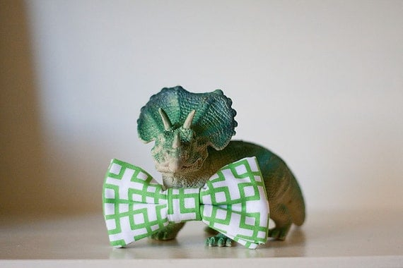 Green Geometric Bow Tie for Child- Clip on The Hulk