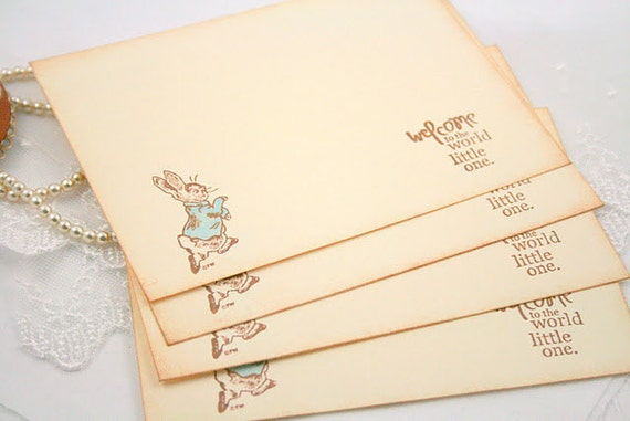 Peter Rabbit Baby Shower Wish Cards Neutral Boy or Girl