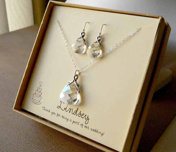 Swarovski Pendant Necklace and Earring Gift Set - Sterling Silver