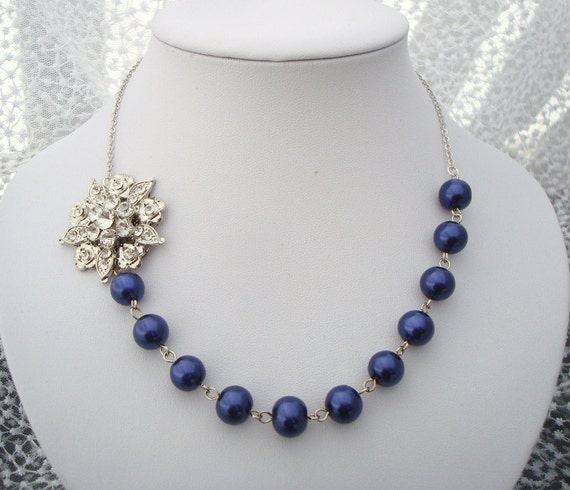 Bridal Jewelry, Something Blue, Dark Blue Pearls, Flower Brooch Necklace, KASEY