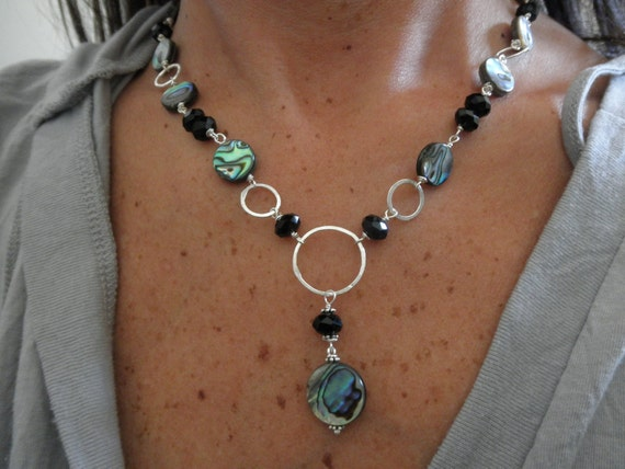 abalone and black onyx necklace with sterling silver