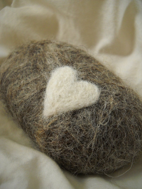 Gray Heart Hand Felted Soap - Cranberry Glycerin