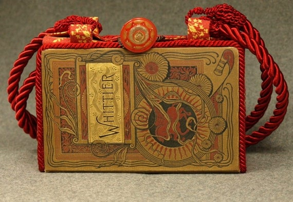 Vintage Book Shoulder Purse, Whittier's Poems, circa 1888